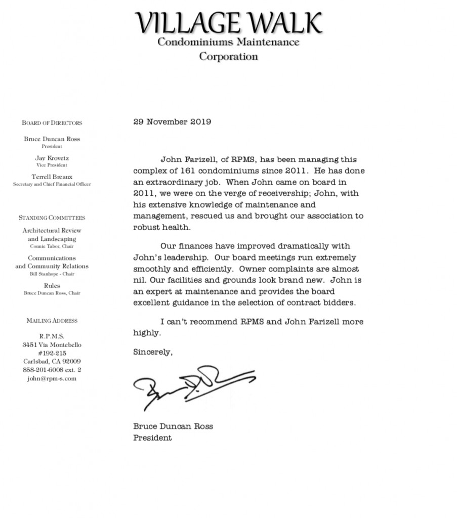 RPMS letter of recommendation